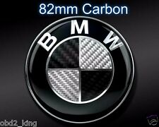 82mm BMW Carbon Black White emblem set hood trunk e46 e60 e61 e90 e91 e70 e53