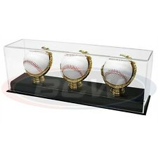 BASEBALL OR CRICKET BALL GOLD GLOVE DISPLAY CASE FOR 3 BALLS