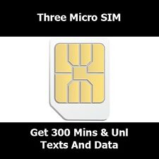 Three Network Micro Sim Card For iPhone 4 - With 300 Mins Unlimited Text & 12 GB