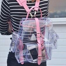 Transparent Girl Clear Plastic Student Bag School Sports Pink Backpack e8