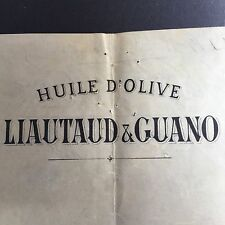 Facture Ancienne Huile D'Olive Liautaud & Guano Nice 1908