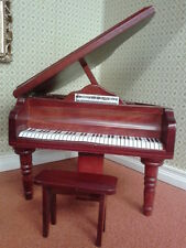 Dolls House Miniatures 1:12th Scale Wooden Grand Piano & Stool Keyboard marked