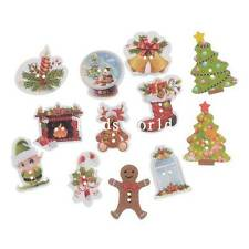 100 Pcs Wood Buttons Sewing Scrapbooking 2 Holes Mixed Christmas Pattern 17-35mm