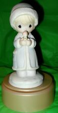 "PRECIOUS MOMENTS FIGURINE  ""MAY YOUR CHRISTMAS BE MERRYT""  $50.00 VALUE"