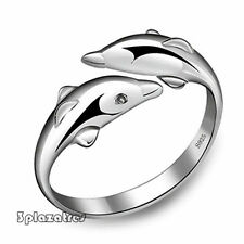 TRE Best Price New Fashion Silver Double Dolphin Opening Adjustable Rings Gift