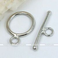 1 Set 925 Sterling Silver Round Smooth Loop Stick Toggle Clasps Findings Jewelry