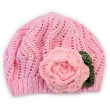 Winter Knitted Pattern Crochet Flower Beret Hat Cap For Infant Kids Baby Girls