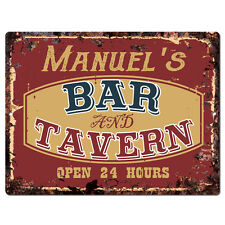 PPBT0110 MANUEL'S BAR and TAVERN Rustic Tin Chic Sign Home Store Decor Gift
