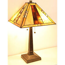 """Tiffany Style Mission Table Lamp Handcrafted 17"""" Shade"""