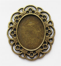 5pcs 40x35mm Antique Bronze Oval Cameo Cabochon Base Setting Charm Pendant Tray