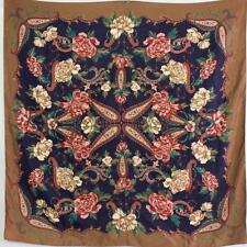 "BOHO CHIC 1970S VINTAGE BROWN FLORAL PAISLEY PRINT LARGE 35"" SQUARE SCARF"