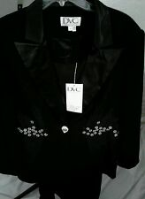 DVC Ladies 3 Piece Lined Black Suit Jacket, Camisole and Skirt  Size 18