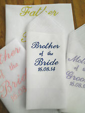 PERSONALISED WEDDING,FATHER OF THE BRIDE/GROOM HANDKERCHIEF FREE POST