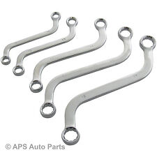 5pc S-Shape Spanner Set Obstruction Metric Wrench Curve Ring Tool New