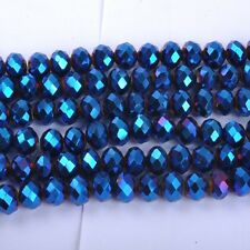 100pcs Metallic Blue AB2X Top Quality Czech Crystal Faceted Rondelle Beads 6X4MM