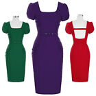 New Housewife 50s 60s Retro Vintage Pin Up Pencil Midi Dress Short TEA Dresses
