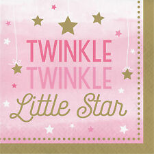 "16 Twinkle Twinkle Little Star Girl's 1st Birthday Party 6.5"" Lunch Plates"
