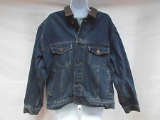 "mens marlboro M premium weight denim jean jacket chest 46"" leather collar MINT"