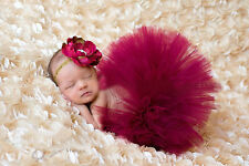 Newborn Baby Girls Princess Flower Headband & Tutu Skirt for Phtotography Outfit