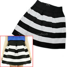 Korean Fashion Retro Flared Black White Striped Women Mini Short Skirt Bouffant