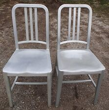 Pair Vintage Aluminum Emeco Navy Slat Back Chairs Dining/Side Industrial #7