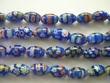 Millefiori glass rice beads 8X12mm Dark Blue