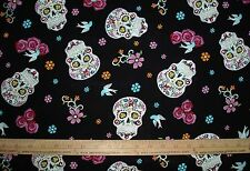 Cotton Fabric Calaveras Skulls on black Outlined in glittery Silver Floral BTY