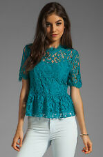 NWT Sz 4 Anthropologie HD in Paris Lace Mockneck Tee, Teal Blouse S Size Small