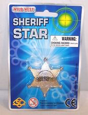 2 CARDED METAL STAR SHERIFF BADGE theatre badges props dress up costume items