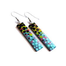 Geometric Colorful Earrings Long Dangle Rectangle Dots Disco 80s Retro Earrings