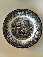ROYAL STAFFORD FINE EARTHENWARE PLATE ENGLAND BLACK AND WHITE CASTLE SHEEP DOG
