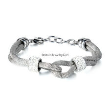 Womens Stainless Steel Double Row Infinity Mesh Bracelet with Rhinestones Beads