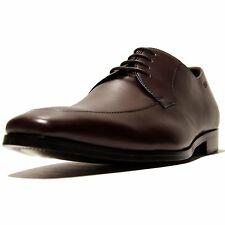 NIB HUGO BOSS Brown Leather Oxford Dress Mens Shoes 11 44 Apron Derby Casual .5