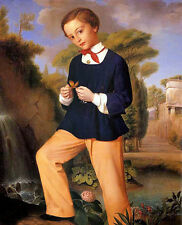 Oil painting carlo zatti - portrait of a boy from a lombard noble family canvas