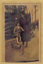 Carte Photo vintage card RPPC femme fillette trotinette patinette pz013