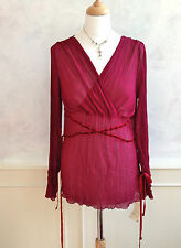 NEW + TAGS - NEXT Crimson Red Silky Crinkle V Neck Sheer Long Vamp Blouse Med 12