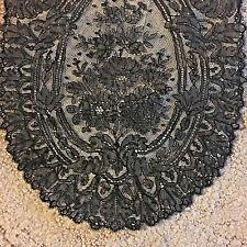 """Antique Black Chantilly Lace And Floral Lace Trim 80"""" X 32"""" & 110"""" X 9.5"""""""