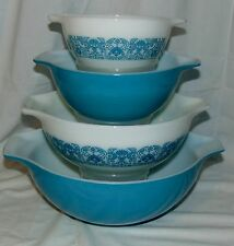 Pyrex HORIZON BLUE  *4 PC CINDERELLA  MIXING BOWL SET*