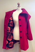 PER UNA RED COAT SIZE 12 FLORAL LINING WOOL MIX BUTTON MARKS AND SPENCER
