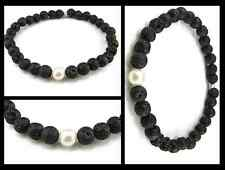 Stabilizing Black Lava Rock w Pearl Beaded Stretch Bracelet Mala