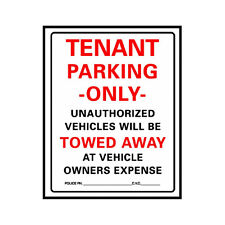"""Hy-Ko 701 Tenant Parking Only Plastic Parking Lot Sign, 19""""X15"""""""