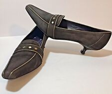 Couture Donald J Pliner Pump Heel Shoe Italian Suede Brown Mena 10M Gold Kitten