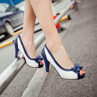 Candy Color  Matching Bowknot Peep Toes Kitten Block Heel Ladies Sandals Shoes