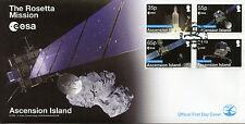 ISOLA di ascensione 2014 FDC ROSETTA missione 4v Set Coprire ESA SPAZIO Ariane 5 FRANCOBOLLI