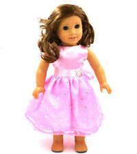 lovely 2016 pink clothes dress for 18inch American girl doll party b11