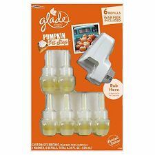 Glade Plug In Scented Oil Warmer +6 Refills Pumpkin Pit Stop Scent Air Freshener