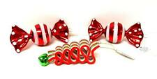 "NEW Lot of 3 Holiday ORNAMENTS - 4"" Christmas Ribbon Candy & 5"" Wrapped Candy"
