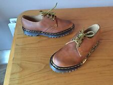Vintage Dr Martens 1461 tan brown shoes UK 4.5 EU 38 skin punk England Steel