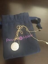Phillips House  Pave Diamond & 14 K yellow Gold Infinity Disc Pendant  Necklace