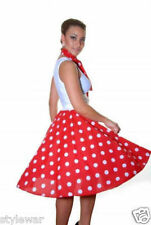 """LADIES PINK,RED BLACK POLKA DOT ROCK AND ROLL 50s SKIRT & SCARF FANCY DRESS 22"""""""